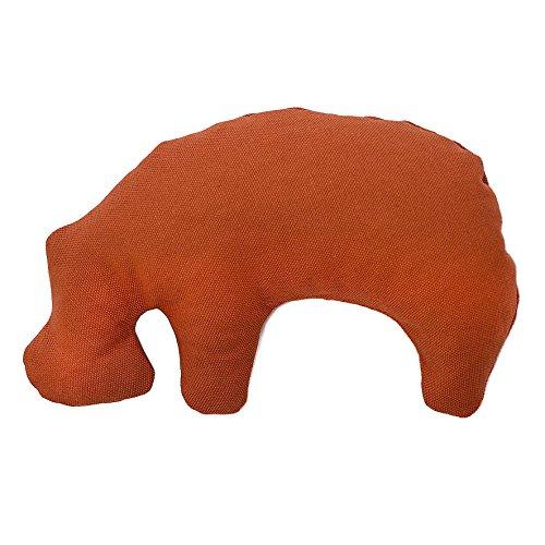 Grüne Pfote Öko Hundespielzeug Kuscheltier KLEINES NILPFERD AUS Granada mit Bio Dinkelspelzfüllung schadstofffrei 35x27 cm (Terracotta, mit Zusatzfüllung Bio Rosenblüten)