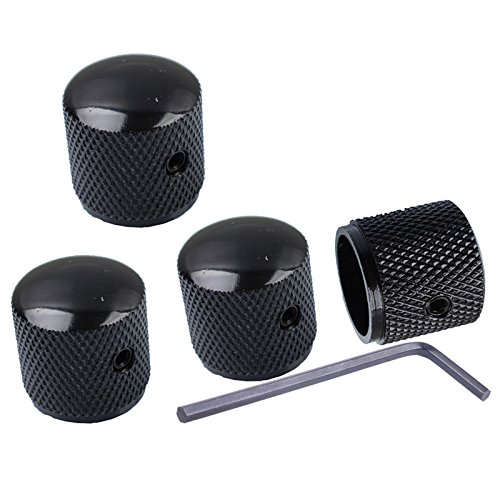 Metal Volume Tone Dome Tone Guitar Speed Control Knobs With Allen Keys Screws Set for Fender Strat Telecaster Gibson Les Paul Electric Guitar or Bass, Black Pack Of 4 Pcs,MusicOne