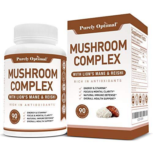 Premium Mushroom Supplement - Immunity Support, Nootropic Brain Supplement - Lion's Mane, Cordyceps, Chaga, Reishi Mushroom Capsules - Mushroom Complex for Energy & Focus - Vegan, Gluten Free, 90 Caps