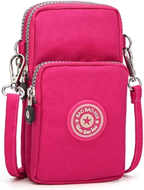 Cell Phone Purse Wallet Small Nylon Crossbody Bag Women Handbag Sport Armband w Card Pocket for Samsung Galaxy S20 S10 Plus S9 Plus A51 A30S J7, Google Pixel 3a XL Pixel 4, BLU Studio Mega, G9 (Rose)