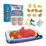 Leo & Emma Space Sand 1.8kg Juego de Arena Magia Dinosaurios 20 pcs. 10 moldes con Animales, Pala, Herramienta de Modelado, Caja de Arena - Nuevo Modelo 2020 Probado por TÜV (1.8kg Rojo)