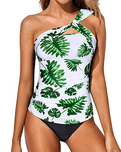 Tempt Me Women Leaves Tankini Ruched One Shoulder Tummy Control Top with Shorts Two Piece Swimsuits XXL