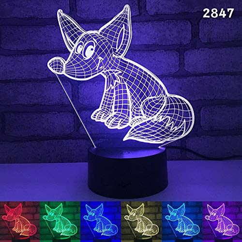 jiushixw 3D acryl nachtlampje met afstandsbediening van kleur veranderende tafellamp paard olifant muis pot dier andere dieren nacht zilver laser stereo schets rood kinderen banker tafellamp antiek messing mooi
