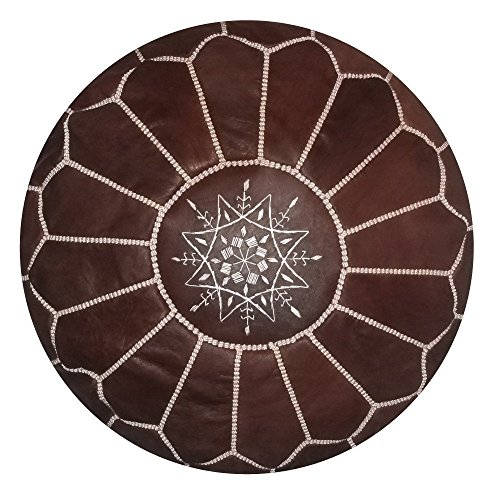 Moroccan leather pouf, handmade ottoman poof for living room furniture and home decor, floor footstool hassock, boho round chair foot rest stool pouffe, Brown with White Stitching Unstuffed