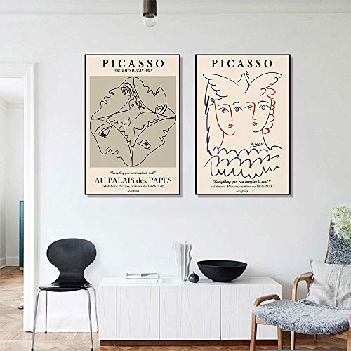 IGNIUBI Picasso Matisse Abstract Girl Flower Wall Art Carteles nórdicos e Impresiones Cuadros de Pared Vintage para Sala de Estar Decoración del hogar 50x70cmx2 Sin Marco