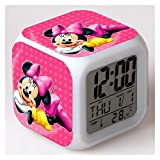 Kfdzsw Alarm Clock Mickey Minnie Mouse Colorful LED Touch Alarm Clock Student Boy Girl Child Bedside European and American Hot Alarm Clock (Color : Mickey Mouse 4)