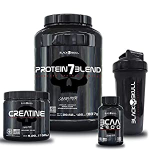 KIT BLACK SKULL 7 BLEND + BCAA + CREATINA + COQUETELEIRA (CHOCOLATE)