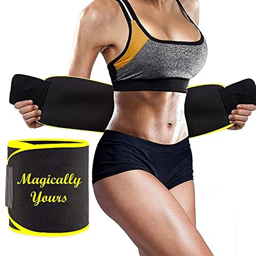 Magically Yours Sweat Slim Belt- Sweat Belt for Men and Women- 1 Year Warranty Black