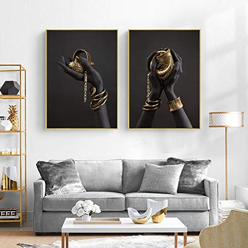 Pulsera de mano negra y dorada Pintura en lienzo Carteles e impresiones de arte africano Imagen de arte de pared para sala de estar HD 20x30cmx2pcs Sin marco