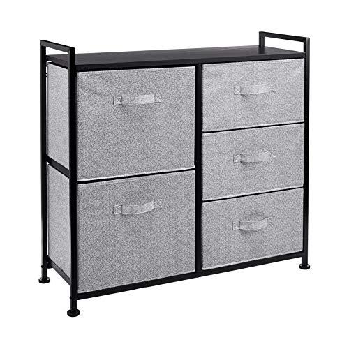 Amazon Basics Unidad de almacenamiento, de tela, con 5 cajones, para armario, negro