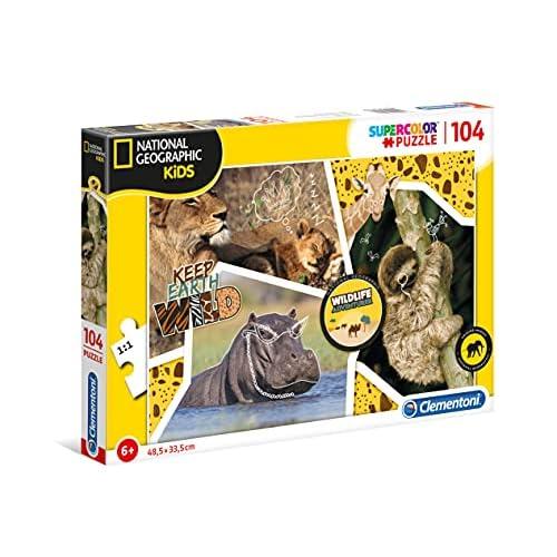 Clementoni- Wildlife Adventurer Puzzle da 104 Pezzi, Multicolore, 27143