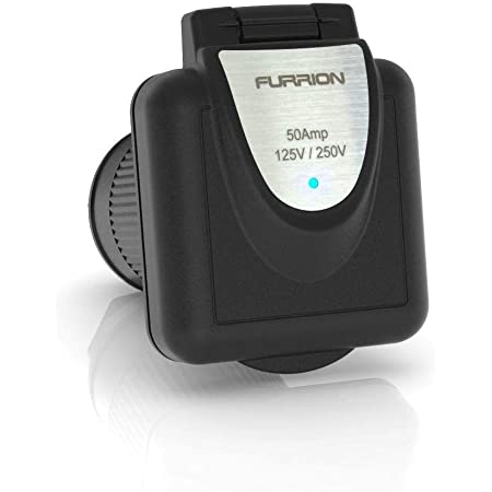 Furrion 50 Amp 125/250 Volt Shore Power Inlet with Marine Grade quality and PowerSmart technology (Black) - F52INS-BS-AM