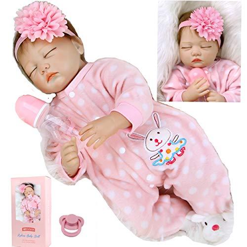 ZIYIUI 22 Pulgadas 55 cm Muñeco Reborn Bebé Chicas Durmiendo Reborn Silicona Blanda Realistas Bebe Reborn Niña Regalos Navideños Reborn Dolls