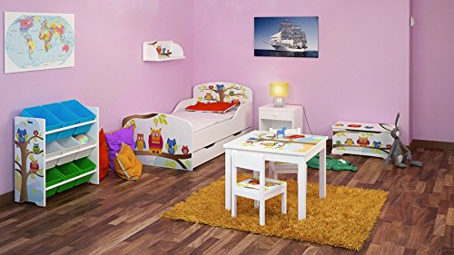 Leomark Juegos de muebles Infantil de Madera - Búhos - 6 Pieces - Cama Infantil 70/140, Mesa con sillas, Mesita De Noche, Estante, Estantería, moderno Caja, Dormitorio para Bebé, niños