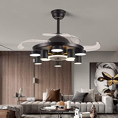 Ventilador de techo LED de 42 pulgadas con iluminación, mando a distancia de 36 W, silencioso, para iluminación interior, salón, dormitorio, cocina