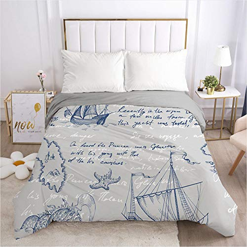 Dollin&Dockin Home Bedding Textiel Quilt Cover Bed-In-A-Bag 3D Retro Nautical Boot Zee Slaap Comfortabele Ademende Rits Sluiting Queen King Classic Size Past Iedereen