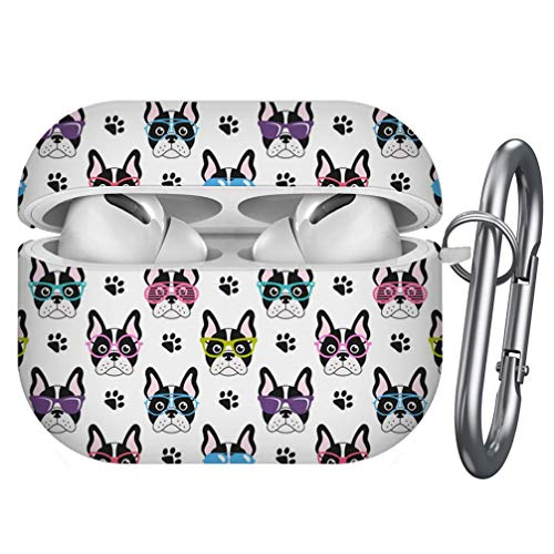 Compatible with Airpods Pro – Shockproof TPU Gel Portable Protection Soft Case Cover Skin with Carabiner Clip Keychain (Cute French Bulldogs Glasses)