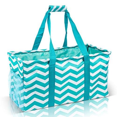Extra Large Utility Tote Bag - Oversized Collapsible Reusable Wire Frame Rectangular Canvas Basket With Two Exterior Pockets For Beach, Pool, Laundry, Car Trunk, Storage - Chevron Teal