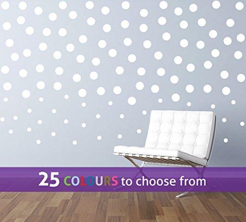 TopZog - Juego de 30 adhesivos decorativos para pared de 1 pulgada y 80 de 2 pulgadas, diseño de lunares de lunares, 1 en y 2 en confeti, lunares, para bebé, niño, niña, clavo, spa, salón de belleza, color blanco
