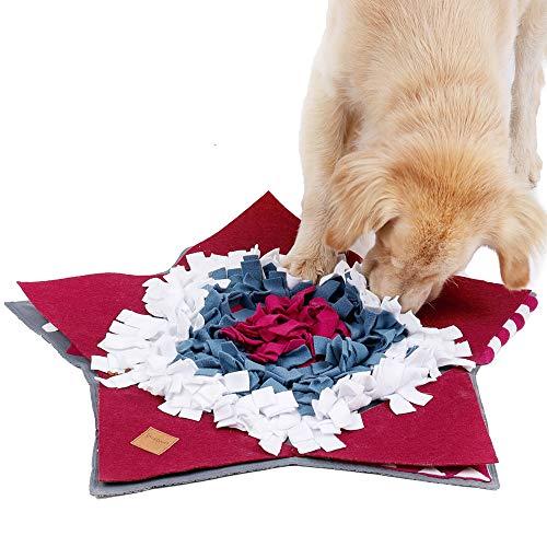 PETTOM Schnüffelteppich Hund Waschbar, Schnüffelrasen Faltbar Schadstofffrei, Schnüffeldecke Hund Gross, Interaktives Spielzeug für Hunde, 72×72cm