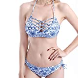 ttkj Traje De Baño para Mujer Bikini Sexy Dividido Azul Y Blanco Porcelana Durable Sexy Rayado Alto Elástico Sin Respaldo Tight Floral Retro M