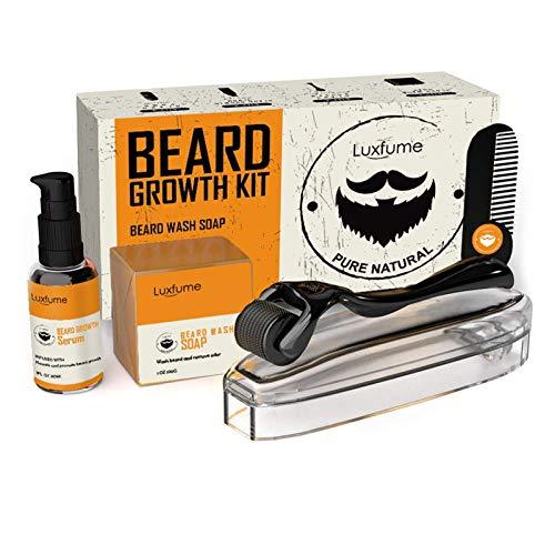 Baardverzorgingsset – baardverzorgingsset voor mannen zacht, glad en verlicht de jeuk van de baard, bevat baardwas en conditioner, baardolie, baardbalsem en baardkam