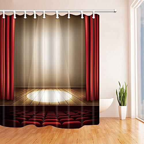 Nyngei Sitze und Scheinwerferdekor Eine Theaterbühne mit einem roten Vorhang auf Holzboden Bad Vorhang Polyester Stoff Wasserdicht Duschvorhänge 180X180CM Haken