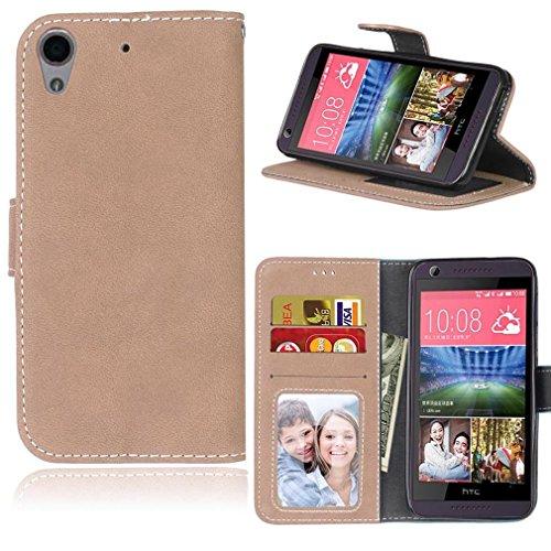 LMAZWUFULM Hülle für HTC Desire 650 / 626G / 628 (5,0 Zoll) PU Leder Magnet Brieftasche Lederhülle Retro Gefrostet Design Stent-Funktion Ledertasche Flip Cover für HTC 650 / 626G / 628 Khaki