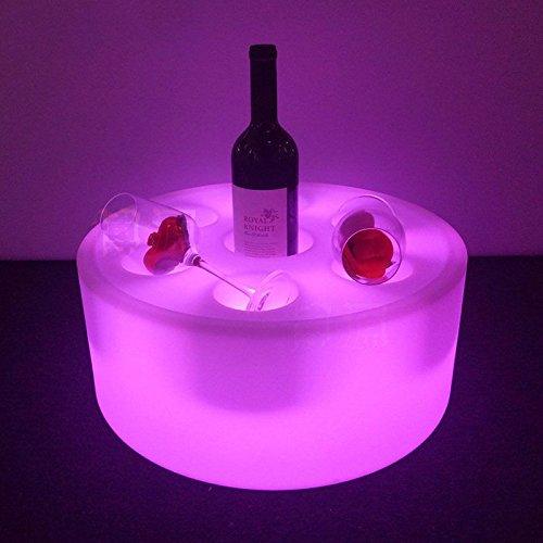 Casier à vin rond et support – Sans fil, changement de couleur avec télécommande, 42 cm x 16 cm