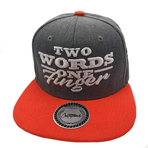 Outfitfabrik Snapback Cap Two Words One Finger in grau/orange, 3D-Stick (Festival, Lifestyle, Provokation, Statement)