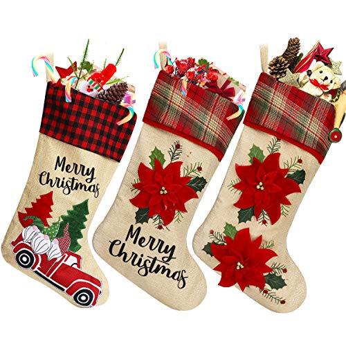 Aceshop Calza di Natale Set 3 Pezzi, Calze Natalizie da Appendere, Camino Calza di Natale,...