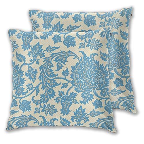 Lilyo-ltd Hewitt Rokoko Damast quadratisch Überwurf Kissenbezüge für Sofa Couch Bett Auto dekorative Kissenbezüge 45,7 x 45,7 cm Kissenbezüge 2 Stück