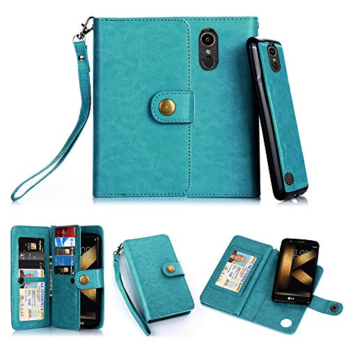 TabPow LG K20 Plus Case, 10 Card Slot - ID Slot, Button Wallet Folio PU Leather Case Cover with Detachable Magnetic Hard Case for LG K20 V/LG K10 2017 / LG Harmony/LG Grace -Turquoise Blue
