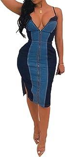 IyMoo Womens Sexy Jeans Dress - Off Shoulder Ruffles Slit Summer Slim Fit Demin Bodycon Midi Dress