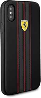CG Mobile Ferrari Pu Leather Case for iPhone X and iPhone Xs Hard Cell Phone Cover with Contrasting Black-Red Stitching Fi...