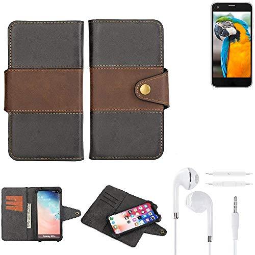K-S-Trade® Handy-Hülle Schutz-Hülle Bookstyle Wallet-Case Für -Vestel V3 5040- + Earphones Bumper R&umschutz Schwarz-braun 1x