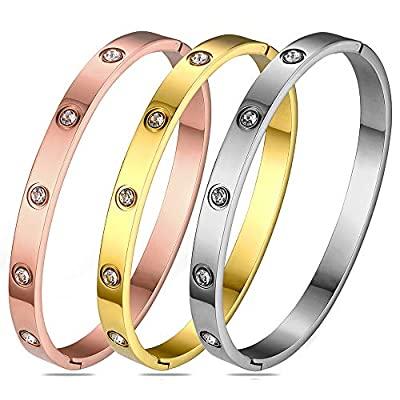 Gold Plated Bangle Bracelets for Teen Girls Jewelry, Stainless Steel Love Bracelets with Cubic Zirconia/CZ for Women Valentines Wedding Christmas Girlfriend Birthday Gifts (Oval-3pcs Mixed-6.7inch)