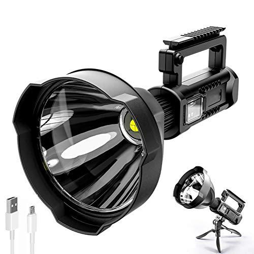 Antorcha LED Súper Brillante, WASAGA 6000 Lúmenes Potente Linterna LED Portátil XHP50 Antorcha Reflector Recargable USB Foco Impermeable con Soporte Linterna de Luz de Pesca (31cm x 16cm)