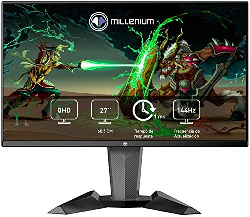 "Millenium MD27PRO - Monitor Gaming para e-Sport de 27"" QHD 144hz con 1ms (2560 x 1440p, TN, 16:9, 3 x HDMI, Display Port, Sin Marco, Ajustable en Altura y Giro) Color Negro"
