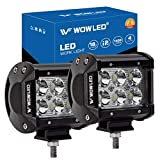 WOWLED 4 Inch 2 Pack 18W LED Lights CREE LED Work Light Bar Spot Lamp Offroad 4WD SUV ATV Truck Boat Bar Lamp,...