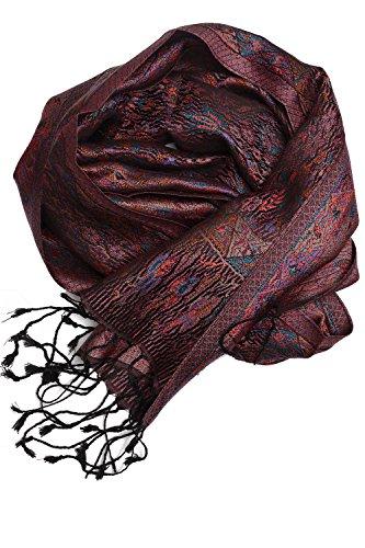 ufash Pashmina 100% Seidenschal aus Indien für Damen & Herren, Paisley Muster, 160 x 35 cm - Schal aus reiner Seide, Violett