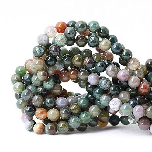 Qiwan 45PCS 8mm Indian Agate Gemstone Loose Beads Natural Round Crystal Energy Stone Healing Power...