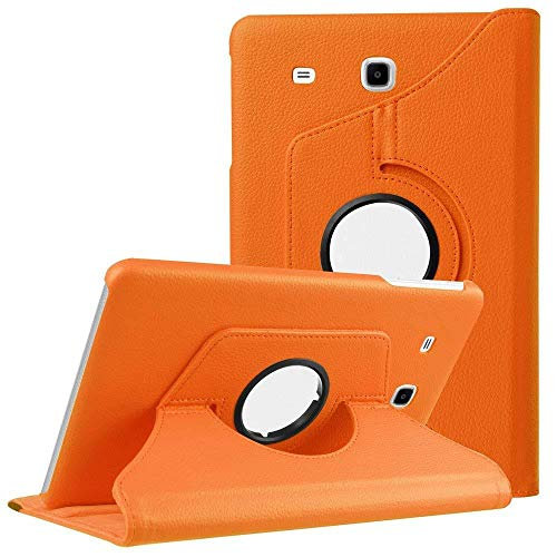 360 Rotating Smart Case PU Leather Cover for Samsung Galaxy Tab E 9.6 T560 T561 SM-T560 Folding Folio Stand Tablet Case funda-Orange