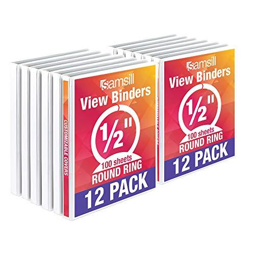 Samsill I08517C Economy 3 Ring Binder Organizer, .5 Inch Round Ring Binder, Customizable Clear View Cover, White Bulk Binder 12 Pack