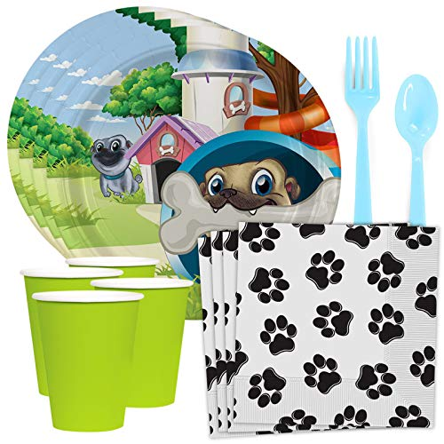 BirthdayExpress Pug Pals Party Tableware Pack for 8 Guests, Multi-colored, One Size