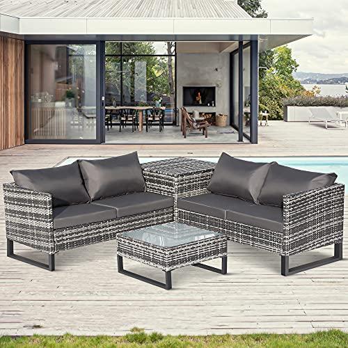 BTM Garden Rattan Furniture Set 4 pieces Outdoor Patio 4 Seater Sofa Set All weather PE Wicker Rattan Steel Frame (Grey)
