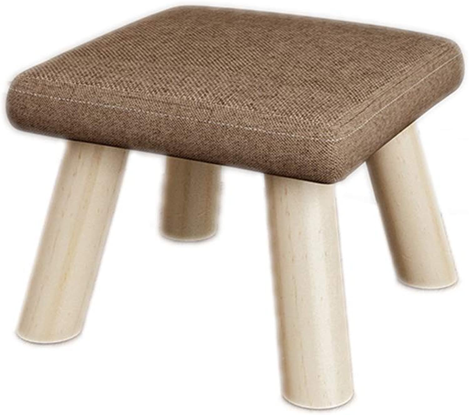 Footstool Removable Cover Upholstered Seating Chair Foot Stools Home Comfortable Seat Wooden Legs LEBAO (color   Brown)