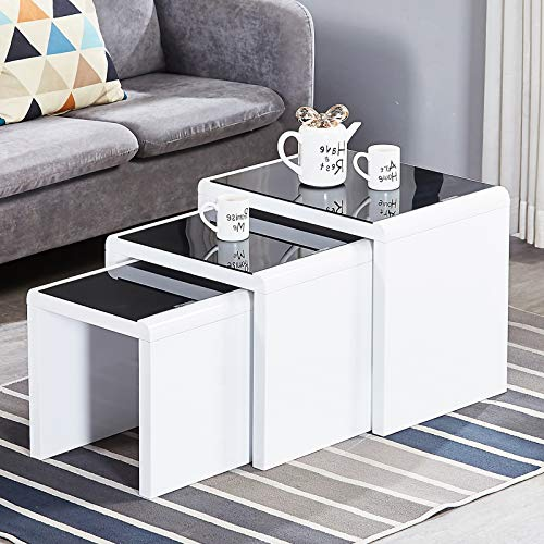 JaHECOME Nest of Tables Set of 3 Nesting Tables High Gloss Coffee Tables...
