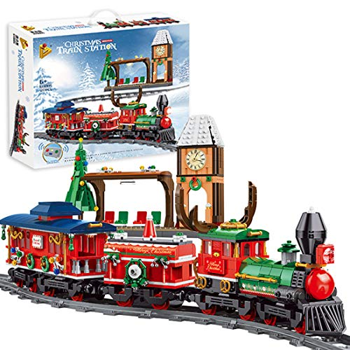 Lommer Juego de tren de Navidad con pista, 1217 piezas de tren eléctrico con control remoto de velocidad ajustable con motor, bloques de construcción compatibles con Lego
