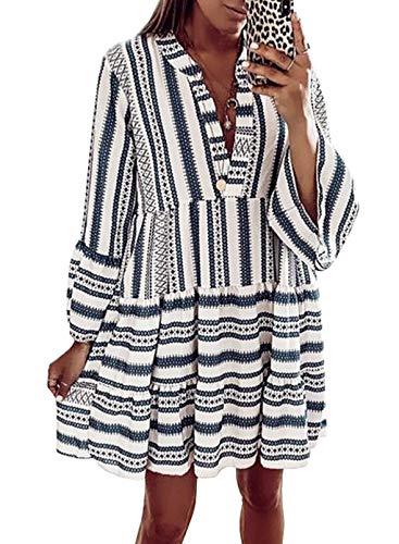 CORAFRITZ Lässiges Tunika-Kleid für Damen, Leopardenmuster, Rüschen, V-Ausschnitt, fließend, schwingend, lose Tunika-Kleider, Vintage-Stil, rosa Druck, langärmelig, Midi-Kleid.E-Himmelblau,S